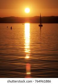 sunset over  lake Balaton near Siofok in Hungary