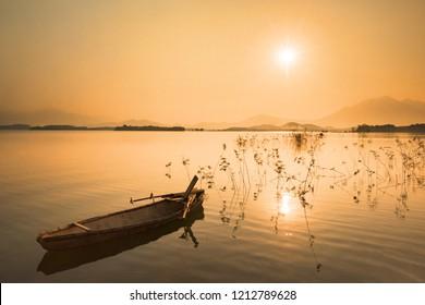 Sunset over Lake Dong Mo, Ha noi, Vietnam
