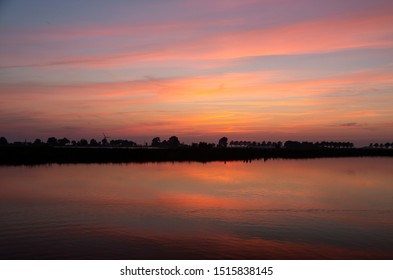 Sunset over lake in Dutch province Friesland