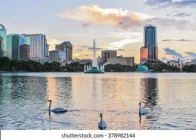 Sunset over Lake Eola Park in Orlando