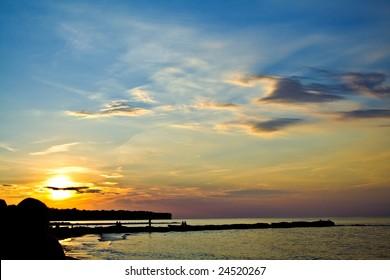 A sunset over Lake Erie, Cleveland Ohio.