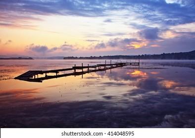 Sunset Over the lake HDR Image (High Dynamic Range)