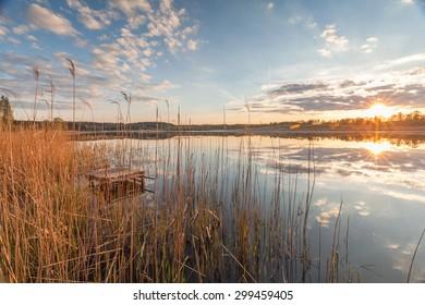 sunset over the lake Kielarskim, Mazura