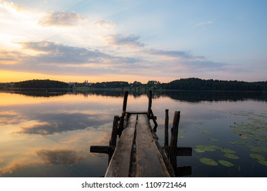 Sunset over the lake in Lithuania