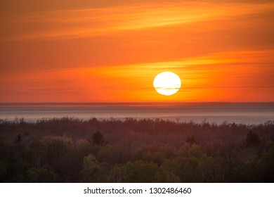 Sunset over Lake Michigan in northern Michigan near Traverse City