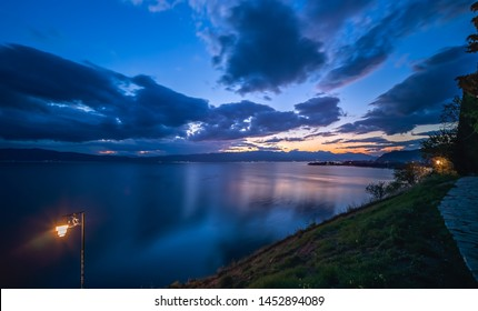 Sunset over Lake Ohrid in Northern Macedonia