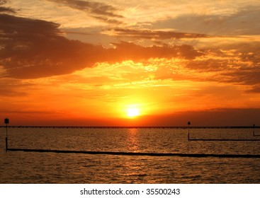 Sunset over the Lake Pontchartrain in New Orleans, Louisiana.