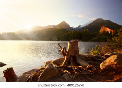 Sunset over the lake Strbske Pleso in the National Park High Tatra, Slovakia