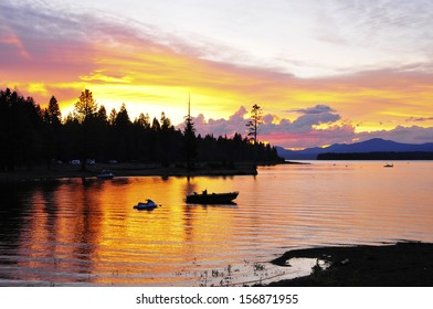 Sunset over Lake Tahoe with moored boat