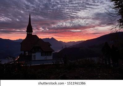 Sunset over Lake Thun (Thunersee) from the viewpoint of Harder Kulm, Interlaken. Switzerland