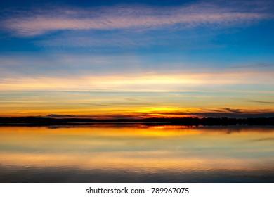 Sunset over lake Thunderbird.