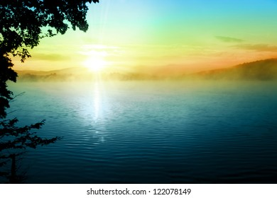 Sunset Over Lake Tree Fog Sky Landscape Background