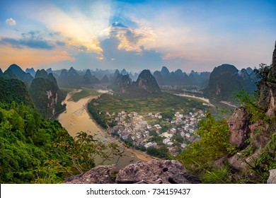 Sunset over the Laozhai Hill in Guilin, China