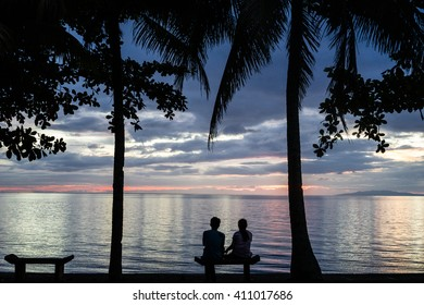 Sunset over Leyte Island, the Philippines.
