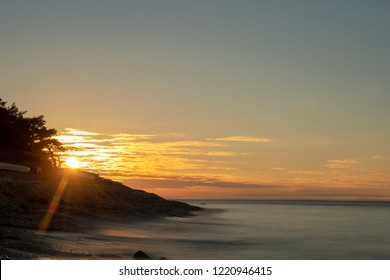 Sunset over an limestone Beach on the island of Gotland in Sweden