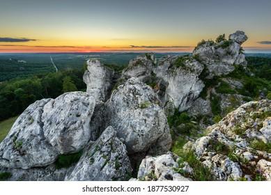 Góa zborów, sunset over limestone formation - Shutterstock ID 1877530927