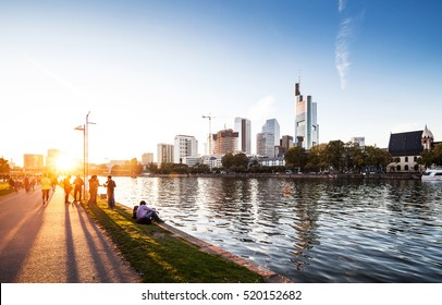 Sunset over Main river in Frankfurt am Main