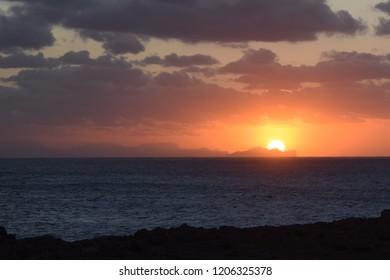 Sunset over Mallorca viewed from Menorca