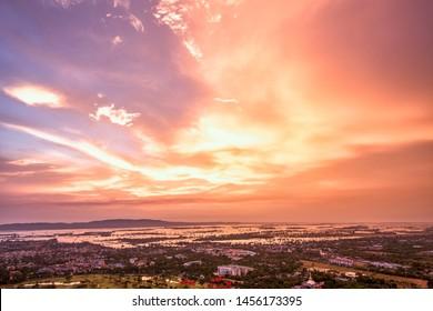 sunset over Mandalay city in Myanmar