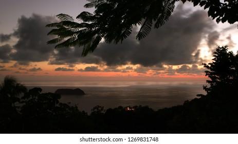 Sunset over Manuel Antonio, Costa Rica, and the Pacific Ocean