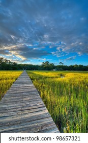 A Sunset Over the Marsh and Dock - South Carolina
