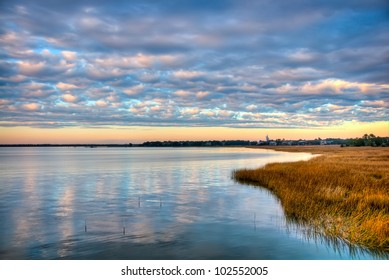 A Sunset Over the Marsh in South Carolina