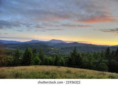 Sunset over Marys Peak in the Coast Range of Oregon