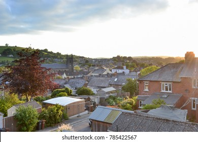 Sunset over the medieval town of Totnes in Devon, England