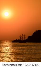 Sunset over the Mediteranean Sea at Oludeniz in Turkey