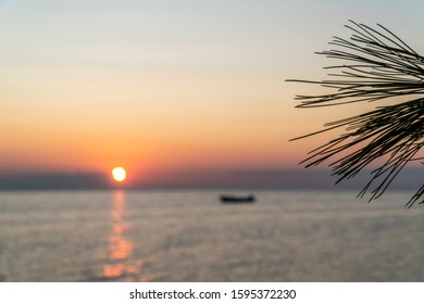 Sunset over the Mediteranean sea from the shores of Halkidiki, Greece