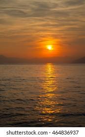 A sunset over mediterranean coast, Italy