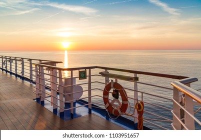 Sunset over the Mediterranean sea from a cruise ship