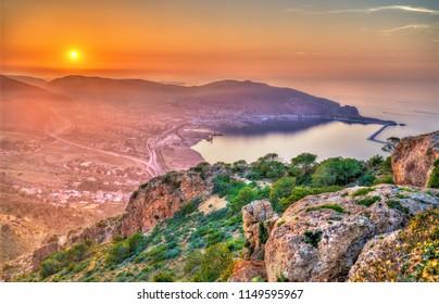 Sunset over the Mediterranean Sea in Oran - Algeria, North Africa