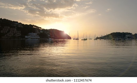sunset over the Mediterranean Sea at Port de Soller on the coast of Mallorca