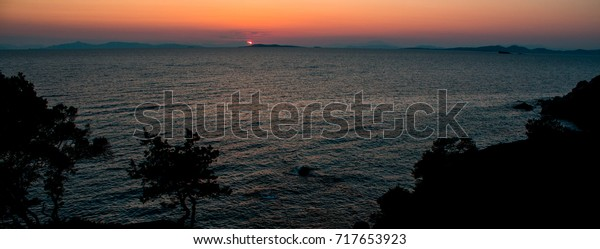 Sunset over the mediterranean with shadows of trees in the foreground