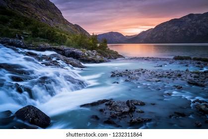 Sunset over Memurubu at the lake Gjende in Jotunheimen, Norway
