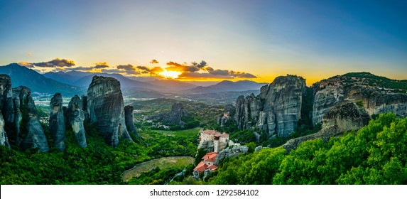 Sunset over Meteora in Greece