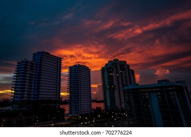 Sunset Over Miami Buildings