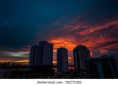 Sunset Over Miami Skyscraper