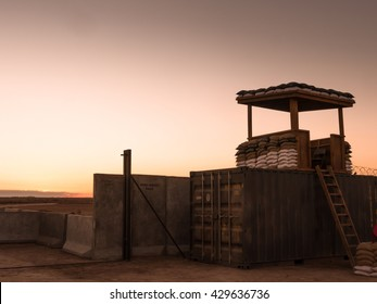 Sunset over a military camp somewhere in the world