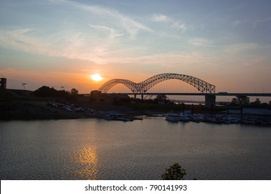 A sunset over the Mississippi river in Memphis, TN.