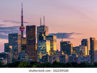Sunset over modern buildings in Toronto city