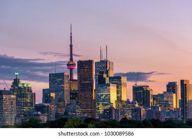 Sunset over modern buildings in Toronto city