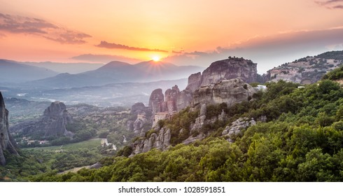 Sunset over monastries of Meteora, Greece
