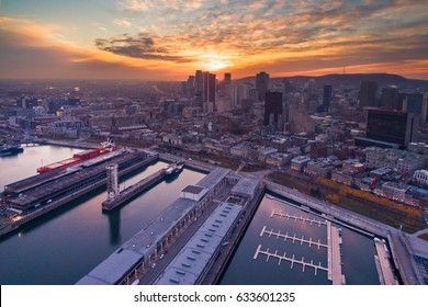Sunset over Montreal downtown