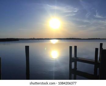 Sunset Over Mosquito Lagoon Near New Smyrna Beach, Florida USA