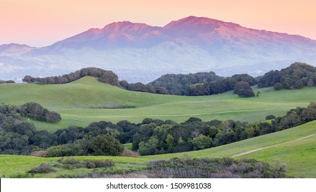 Sunset over Mount Diablo and grassy rolling  hills. Briones Regional Park, Contra Costa County, California, USA.
