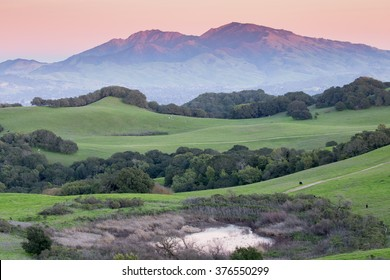 Sunset over Mount Diablo from Rolling Grassy Hills. Briones Regional Park, Contra Costa County, California, USA.