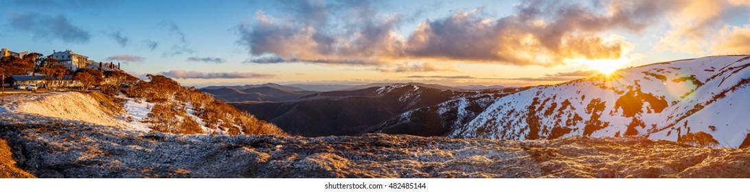 Sunset over the Mount Hotham Ski Resort in Alpine National Park Australia