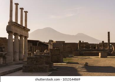 Sunset over Mount Vesuvius and the Ruins of Pompeii (Scavi di Pompei)